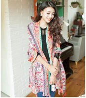 Free Shipping! 2014 New!Totem Fluorescent Color Scarves Nation Retro Hit Color Fringed Women Shawls  Scarves, BS79