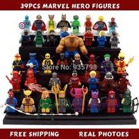 39pcs/lot Marvel Super Heroes Iron Man Hulk Spiderman Avengers Building Blocks Sets Minifigure Bricks Toys Compatible with lego
