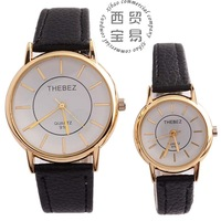 Wholesale 2014 fashion business full stainless steel glass dial Quartz waterproof leather lovers' watch TBS916