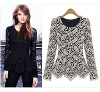 2014 New Womens Fashion Temperament Long Sleeve O-Neck  Top  Hollow Out Chiffon Embroidered Crew Neck Blouses