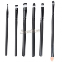 Super soft nylon hair High Quality 6 pieces Black makeup brushes set blush blending eye shadow cosmetic brush B11 SV005182