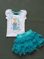 New 2014 Summer Frozen Girls Clothing Sets Anna Elsa Girl Prinecess White Shirt+Blue TuTu Skirts Dresses kids Clothes