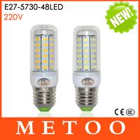 Hot E27 48LEDs SMD Cree 5730 Max 15W 220V Led lights Corn Bulbs lamps Candle Energy Efficient Lighting 1Pcs/Lot