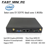 Intel core I3  DDR3 2GB RAM 60gb ssd  dual core 1.8GHz dual thread  windows/linux   HDMI+ VGA   thin client mini computer