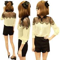 2014 Lace chiffon shirt For women Casual Lace patchwork shirt Size S M L Free shipping  FE2684#M1