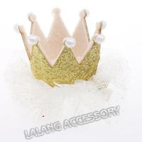 5pcs/lot Cute 3D Kids Ribbon Headdress Girls Princess Pearls Crown White Fold Yarn Wraped Clip Baby Hair Clip EJ870360