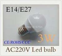 3W 6pcs  SMD5630 E14 E27 Epistar nature white/ warm white led bulbs led bulb lamp 220V