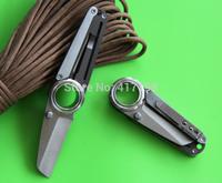 Lowest Price! Mini-Remix EDC Double Blade Pocket Knife, tanto point, plain+ serrated blade, pocket clip, free shipping