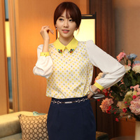 2014 Spring New Camisas Long Sleeve Turn-Down Collar Blouses Chiffon Ladies Office Shirts Loose Elegant Tops Woman Clothes 818