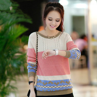2014 Women's Autumn Korean Candy Colored Spell Stripe Lambswool Loose Pullover Knitted Sweater Free Shipping