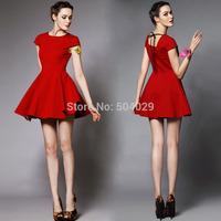 Gorgeous Short Sleeve Mini A-Line Dress Women Big Hems Basic Red Dresses Ladies Classic Style Black Ribbon on Back Best Quality