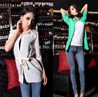 Hot Sale 2014 Summer New Women Lapel Half Sleeve T-Shirt  Minimalist Style Ladies Tops Free Shipping