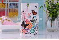 New Stylish Wallet Case For Moto G Butterfly Flower Leather Flip Cover Case For Motorola G Shell Case