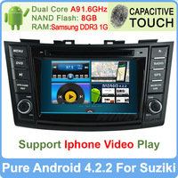Pure Android 4.2 Car DVD GPS Navigation For Suzuki Swift Dual Core 1.6GHz Radio PC Multimedia Built-in WiFi DVR Support OBDll 3G