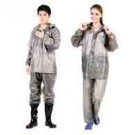 free shipping Fashion transparent adult raincoat rain pants set