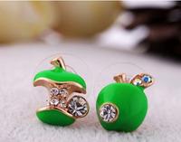 0.99$ 1 PCS Free Shipping Korean Alternative Red Green Enamel Drop Earrings Priced At Wholesale Asymmetric 1070