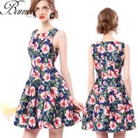 Flower Print Dress  Vintage Girl Flral Tank Top A Line Dress Slim Cocktail Party Skater Dress 2014