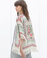fashion women Spain style chiffon kimono cardigan/tassel Regular Floral print blouse/mujer ropa camisas femininas blusas/WTL