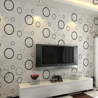 Brief wall paper modern sofa TV machine geometric mural wallpaper for walls, black and white circles PVC walls wallpaper rolls