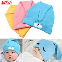 M025-- Min.1pc Newborn Baby Sleeping Hats cute cartoon design  Baby Toddlers Cotton Sleep Cap Headwear Free drop shipping