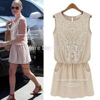 Summer Women's suits ruffles elastic Lace Sleeveless Patchwork Dress New 2014 Chiffon Dresses Women Clothing Plus Size S-XL