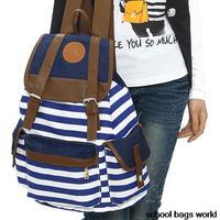 HOTTEST 2014 NEW Fashion Printing Backpack Women Mochilas Femininas Stripe Vintage Canvas School Bag for Teenage Girls Rucksack