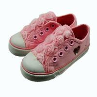 Original kids sneakers single paw bear cute flower girls canvas shoes wholesale