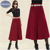 New Fashion Style Thick Winter and Autumn Wholesale Women High Waist Pleated Skirt Belt Green Ladies Promotion Long Skirts