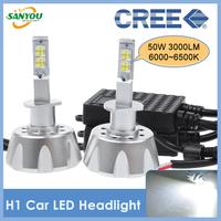 2014 New 1 Set 50W 3000LM H1 CREE MKR Led Headlamp Daylights Fog Lights Bulb DRL 6000-6500K White Bulbs