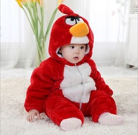 1 Pcs/lot 2014 Top quality Flannel winter thicken baby rompers cute bird model boys girls hooded baby jumpsuit baby costume