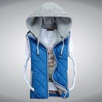 Man's Down Cotton Vest Big Size 3XL Winter Sleeveless Jacket Casual Fashion Waistcoat colete 2014 Design Fashion Slim Vests ZX70