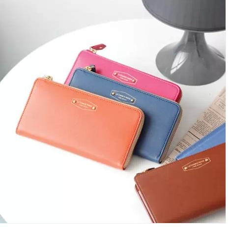 Women's long design zipper wallet candy color fashion multi card holder multifunctional cell phone purse(China (Mainland))