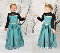 1PC,New 2014 Frozen Elsa Anna Dress For Girl Princess Dresses baby & kids clothing autumn long sleeve girls' Clothes