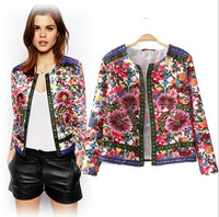 Ladies' Vintage Floral Printed Embroidery Jacket Long Sleeve Outwear Open Stitch Coat Casual Brand Slim Jacket