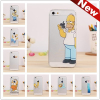 For iPhone 5C Case Transparent Simpson Snow White Hand Grasp logo Alice Imported Hard PC Cell Phone Cases Cover For iPhone 5c