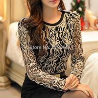 2014 Autumn fashion women tops Women Clothing Hot  Blusas Femininas Blouses & Shirts Fleece Women Crochet Blouse Lace Shirt  999