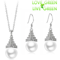 2014 Free Shipping women brand bridal queen 18K Gold Plated Simulated Pearl pendant Necklace Earrings Jewelry sets  29133