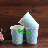 Party Paper Cup,50pcs/lot 9oz White Dots Blue Paper Cups,wedding birthday party supplies,Party Decor,Free shipping