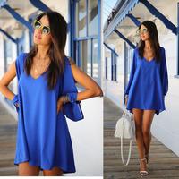 Hot Sale 2014 Europe Fashion Blusa  V Collar Chiffon  Women Loose Dresses