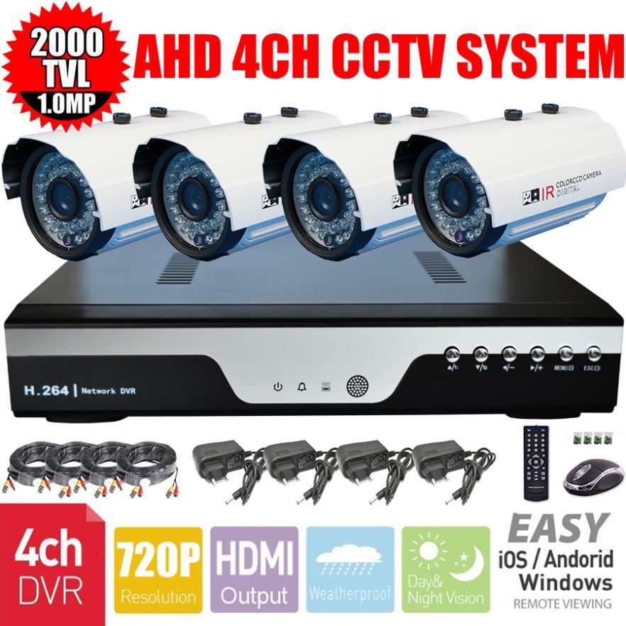 CCTV AHD-M 720P 1.0MP 36IR IR-CUT Security Camera 4CH AHD 720P H.264 DVR Security System Surveillance Kit/4X20M cable(China (Mainland))