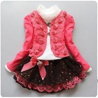 2014 spring autumn cchildren clothing suit  girl child dress princess lace three-piece sets