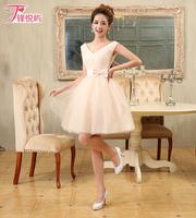 Free Shiping 2014 bridesmaid dress  sweet short-sleeved shoulder dress bridesmaid