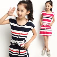 Free Shipping 2014 Summer Girls Dress Cute Striped 3 Color Sleeveless Princess Dress Blue Children's Clothing New Hot M-sqf003