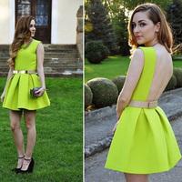 Party Dresses Real Dresses New Arrival Natural Vestido Women Dress Women's Fluorescent Fashion Sexy Halter Hot Sale 2014 Summer