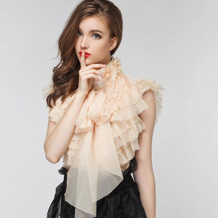 Great   элегантный вечер королевский винтажный дамы бант с оборками роза цветок воротник Beige желтый шифон блузка в