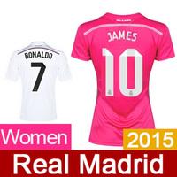 New Real Madrid Women Jerseys 2015 Top Quality Female Camiseta Real Madrid 2015 Custom RONALDO BALE RAMOS With New Fonts