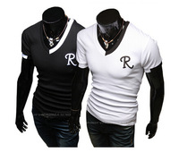 factory sale Size M-XXL Embroidery Men t shirt , Slim Long sleeve V-Neck cotton Classic T-Shirts black white