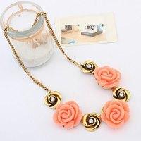 Vintage Rose Gem Shorts Gold Collar Choker Chain Statement Necklaces & Pendants New 2014 Fashion Jewelry Women Wholesale N160