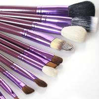 whole sell price New Purple Professional Makeup Brush Set 12 pcs Kit w/ Leather Cup Holder Case kit