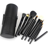 12 PCS MakeUp Brush Cosmetic Set Eyeshadow wood Brush Blusher Tools + Black Cup Holder Case Make up Brushes